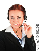 Купить «Call center operator isolated on white. Customer support», фото № 10982348, снято 24 января 2019 г. (c) PantherMedia / Фотобанк Лори