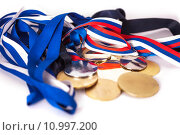 Купить «Medals for winners», фото № 10997200, снято 15 августа 2018 г. (c) PantherMedia / Фотобанк Лори