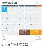 Calendar Planner 2016 Design Template with Place for Photos and Notes. November. Week Starts Monday. Стоковая иллюстрация, иллюстратор Михаил Моросин / Фотобанк Лори