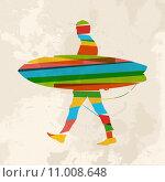 Купить «Vintage multicolor surfer», иллюстрация № 11008648 (c) PantherMedia / Фотобанк Лори