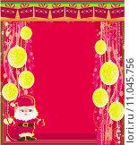 Купить «Framework style card with christmas balls and Santa Claus», иллюстрация № 11045756 (c) PantherMedia / Фотобанк Лори