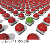 Купить «Red game show buzzers aligned in grid, one centre buzzer green, 3d rendering on white background», фото № 11150396, снято 10 декабря 2018 г. (c) PantherMedia / Фотобанк Лори