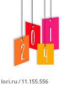 Купить «Happy New Year 2014 colorful hangtag illustration», иллюстрация № 11155556 (c) PantherMedia / Фотобанк Лори
