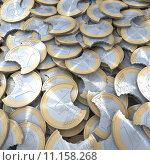 Купить «Pool, heap, pile of bitten off euro coins, 3d rendering», фото № 11158268, снято 22 июля 2019 г. (c) PantherMedia / Фотобанк Лори