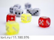 Купить «Composition from different colored dice on a white background.», фото № 11180976, снято 17 июня 2019 г. (c) PantherMedia / Фотобанк Лори