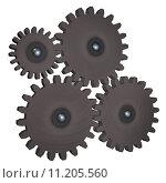Купить «Metallic gearwheels isolated over white background, 3d render», фото № 11205560, снято 15 октября 2018 г. (c) PantherMedia / Фотобанк Лори
