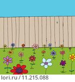 Купить «Cute Flowers Near Fence», иллюстрация № 11215088 (c) PantherMedia / Фотобанк Лори