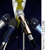 Купить «Man Giving Speech Using Microphones», фото № 11232248, снято 24 января 2019 г. (c) PantherMedia / Фотобанк Лори