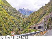 Купить «Mountain road and tunnels», фото № 11274792, снято 23 марта 2019 г. (c) PantherMedia / Фотобанк Лори