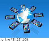 Купить «Smartphones Around World Globe, Global Communication», иллюстрация № 11281608 (c) PantherMedia / Фотобанк Лори