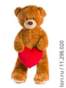 Купить «teddy bear with red heart», фото № 11298020, снято 2 июля 2020 г. (c) PantherMedia / Фотобанк Лори