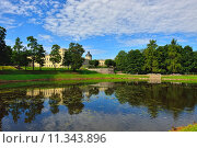 Купить «The pond and palace in Gatchina garden.», фото № 11343896, снято 22 августа 2018 г. (c) PantherMedia / Фотобанк Лори