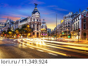 Купить «Madrid city center, Gran Vis Spain», фото № 11349924, снято 17 августа 2018 г. (c) PantherMedia / Фотобанк Лори