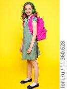 Купить «Portrait of a school girl wearing headphones», фото № 11360628, снято 23 марта 2019 г. (c) PantherMedia / Фотобанк Лори