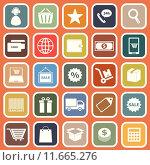 Купить «E-commerce flat icons on orange background», иллюстрация № 11665276 (c) PantherMedia / Фотобанк Лори