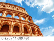 Купить «Colosseum, Italy, gorgeous ancient Roman architecture on blue sky background, arena for gladiators fight, famous historical building», фото № 11689480, снято 23 марта 2019 г. (c) PantherMedia / Фотобанк Лори