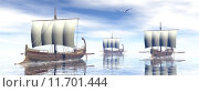 Купить «Ancient greek boats - 3D render», иллюстрация № 11701444 (c) PantherMedia / Фотобанк Лори