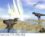 Купить «End of dinosaurs due to meteorite impact in Yucatan, Mexico - 3D render», фото № 11705352, снято 23 октября 2019 г. (c) PantherMedia / Фотобанк Лори