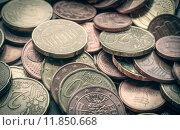 Купить «Retro look Euro coins background», фото № 11850668, снято 22 июля 2019 г. (c) PantherMedia / Фотобанк Лори