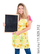 Купить «Beautiful woman with apron and menu bord», фото № 11929312, снято 19 января 2019 г. (c) PantherMedia / Фотобанк Лори