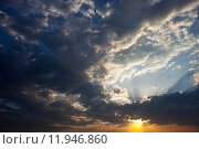 Купить «Cloudscape with the sun rays radiating from behind the cloud», фото № 11946860, снято 22 марта 2019 г. (c) PantherMedia / Фотобанк Лори