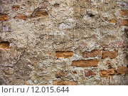 Купить «Partly plastered brick wall with rich texture», фото № 12015644, снято 20 июня 2019 г. (c) PantherMedia / Фотобанк Лори