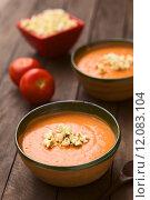 Купить «Ecuadorian Tomato and Potato Cream Soup with Popcorn», фото № 12083104, снято 16 июня 2019 г. (c) PantherMedia / Фотобанк Лори