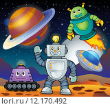 Купить «Space theme with robots 1», иллюстрация № 12170492 (c) PantherMedia / Фотобанк Лори