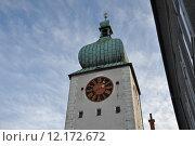 Купить «tower clock city wall stadttor», фото № 12172672, снято 25 мая 2019 г. (c) PantherMedia / Фотобанк Лори