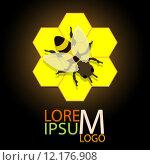 Купить «honeycomb logo with bee vector illustration eps 10», иллюстрация № 12176908 (c) PantherMedia / Фотобанк Лори