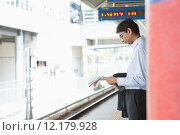 Купить «Indian business man waiting train», фото № 12179928, снято 21 марта 2019 г. (c) PantherMedia / Фотобанк Лори