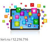 Купить «Digital Tablet pc and flying apps icons», иллюстрация № 12216716 (c) PantherMedia / Фотобанк Лори