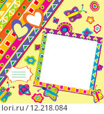 Купить «Scrapbook with doodle elements and place for your picture», иллюстрация № 12218084 (c) PantherMedia / Фотобанк Лори