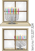 Купить «Hanukkiah On A Window», иллюстрация № 12227324 (c) PantherMedia / Фотобанк Лори