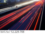 Купить «light trail view at a busy highway», фото № 12229708, снято 26 июня 2019 г. (c) PantherMedia / Фотобанк Лори