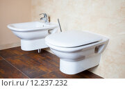 Купить «Hygiene. White porcelain bidet and toilet. Interior of bathroom.», фото № 12237232, снято 21 марта 2019 г. (c) PantherMedia / Фотобанк Лори