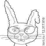 Купить «Outline of Sobbing Rabbit with Glasses», иллюстрация № 12317816 (c) PantherMedia / Фотобанк Лори