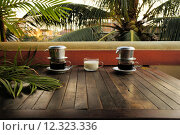 Купить «Vietnam Dripping Coffee with milk under palm trees», фото № 12323336, снято 12 июля 2020 г. (c) PantherMedia / Фотобанк Лори