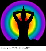 Купить «Human silhouette in yoga pose with aura and chakras colors on background», иллюстрация № 12325692 (c) PantherMedia / Фотобанк Лори