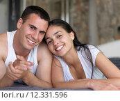 Купить «happy young romantic couple have fun arelax  relax at home», фото № 12331596, снято 5 апреля 2020 г. (c) PantherMedia / Фотобанк Лори