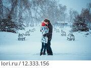 Купить «Happy Young Couple in Winter Park», фото № 12333156, снято 4 июня 2020 г. (c) PantherMedia / Фотобанк Лори