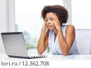 Купить «african woman with laptop at office», фото № 12362708, снято 8 июля 2015 г. (c) Syda Productions / Фотобанк Лори