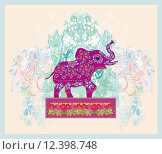 Купить «vintage indian ornament elephant silhouette», иллюстрация № 12398748 (c) PantherMedia / Фотобанк Лори