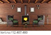 Купить «Wooden house with cast iron fireplace», фото № 12407480, снято 19 ноября 2017 г. (c) PantherMedia / Фотобанк Лори