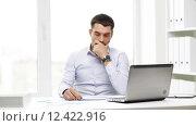 Купить «busy businessman with laptop and papers in office», видеоролик № 12422916, снято 8 июля 2015 г. (c) Syda Productions / Фотобанк Лори