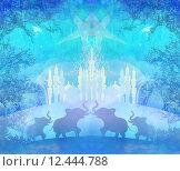 Купить «India background,elephant , building and palm trees», иллюстрация № 12444788 (c) PantherMedia / Фотобанк Лори