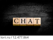 Купить «Word CHAT isolated on black background with copy space», фото № 12477864, снято 20 сентября 2019 г. (c) PantherMedia / Фотобанк Лори