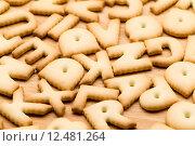 Купить «Baked text biscuit over the wooden table», фото № 12481264, снято 20 сентября 2019 г. (c) PantherMedia / Фотобанк Лори