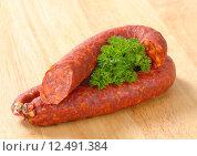 Купить «Spicy dry sausage», фото № 12491384, снято 28 мая 2018 г. (c) PantherMedia / Фотобанк Лори