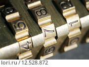 Купить «macro shot of padlock combination numbers», фото № 12528872, снято 15 июля 2018 г. (c) PantherMedia / Фотобанк Лори